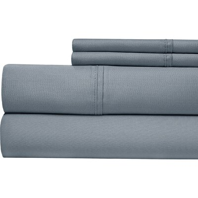 4 Piece 500 Thread Count Sheet Set Color: Blue, Size: Queen