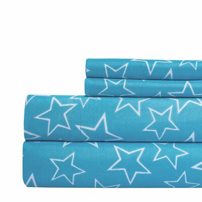 Star Print Super Soft Sheet Set Color: Blue, Size: Full