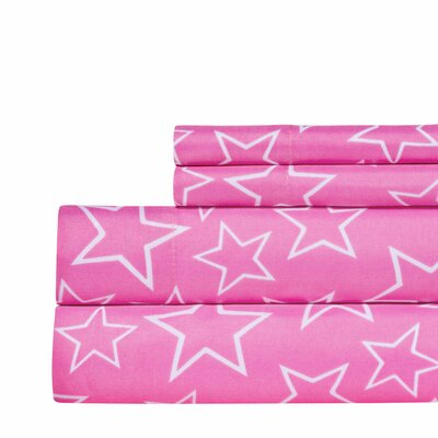 Star Print Super Soft Sheet Set Color: Pink, Size: Queen
