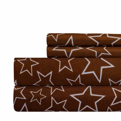Star Print Super Soft Sheet Set Color: Brown, Size: King