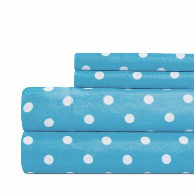 Dot Print Super Soft Sheet Set Color: Blue, Size: Queen