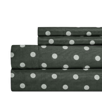 Dot Print Super Soft Sheet Set Color: Charcoal Gray, Size: Full