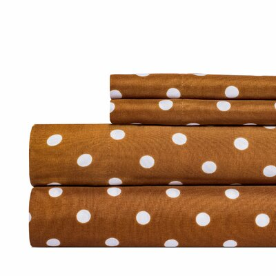 Dot Print Super Soft Sheet Set Color: Brown, Size: Full