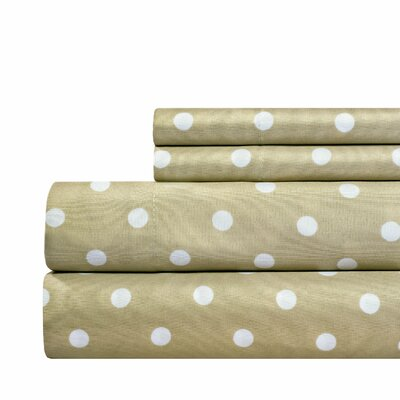 Dot Print Super Soft Sheet Set Color: Taupe, Size: Full