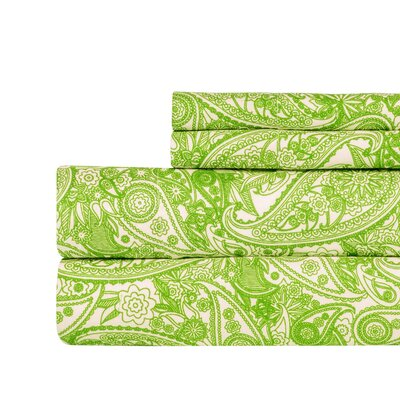 Paisley Print Super Soft Sheet Set Color: Green, Size: Queen