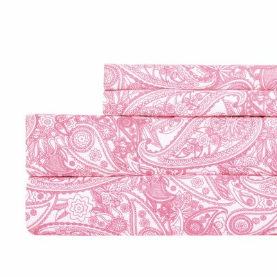 Paisley Print Super Soft Sheet Set Color: Pink, Size: Full
