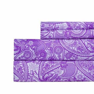 Paisley Print Super Soft Sheet Set Color: Purple, Size: Queen