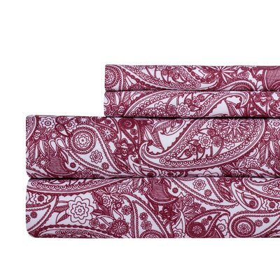 Paisley Print Super Soft Sheet Set Color: Maroon Red, Size: King