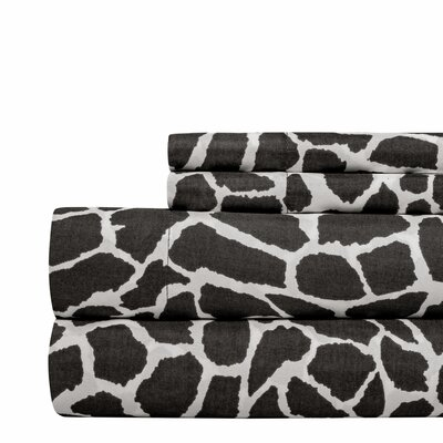 Animal Print Super Soft Sheet Set Color: Gray, Size: Twin