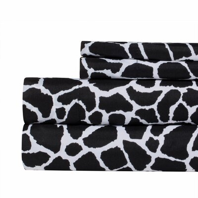 Animal Print Super Soft Sheet Set Color: Black, Size: Queen