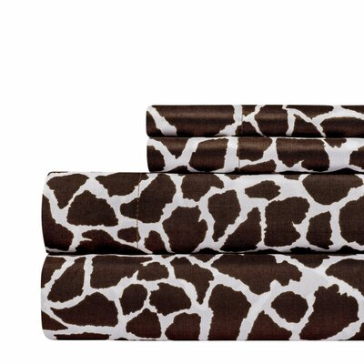 Animal Print Super Soft Sheet Set Color: Brown, Size: King