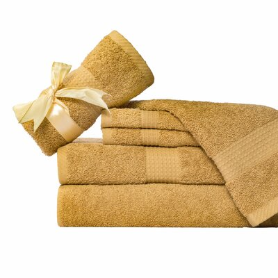 Supersoft 6 Piece Towel Set Color: Gold Tan