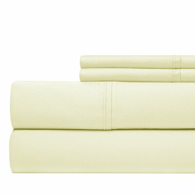 600 Thread Count 100% Cotton Sateen 4-piece Sheet Set Size: Queen, Color: Ivory