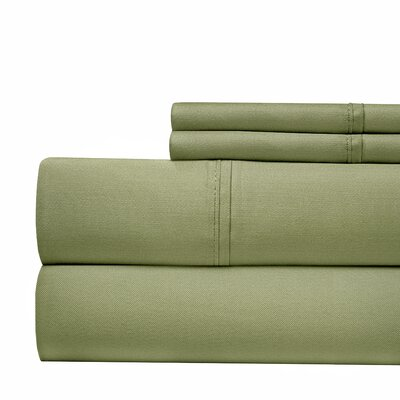 600 Thread Count 100% Cotton Sateen 4-piece Sheet Set Size: King, Color: Sage