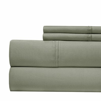 600 Thread Count 100% Cotton Sateen 4-piece Sheet Set Size: Queen, Color: Gray
