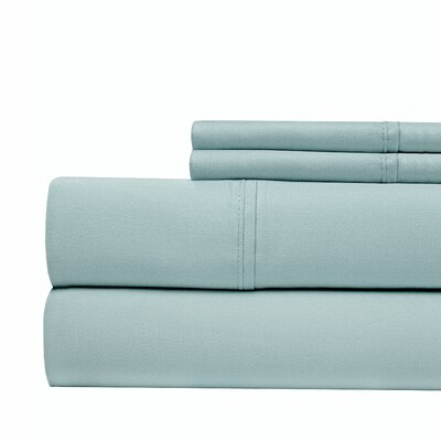 600 Thread Count 100% Cotton Sateen 4-piece Sheet Set Size: Queen, Color: Blue