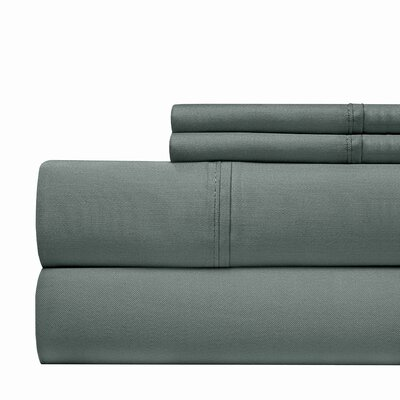 600 Thread Count 100% Cotton Sateen 4-piece Sheet Set Size: King, Color: Haze Blue