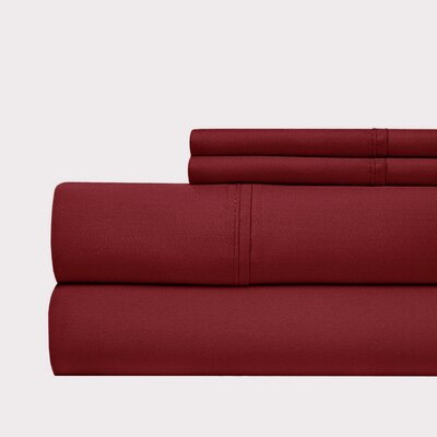 600 Thread Count 100% Cotton Sateen 4-piece Sheet Set Size: Queen, Color: Ruby Red