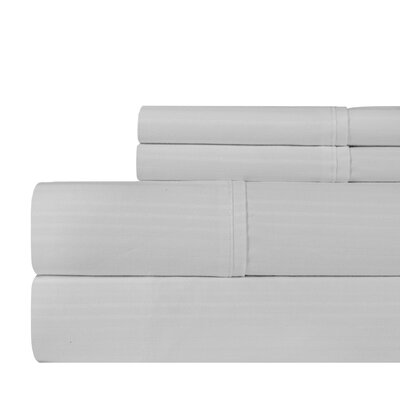 Dobby 400 Thread Count Cotton Sheet Set Color: White, Size: Queen