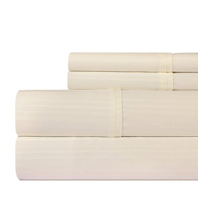 Dobby 400 Thread Count Cotton Sheet Set Size: King, Color: Ivory