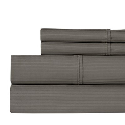 Naida Stripe 400 Thread Count 100% Cotton Sheet Set Size: King, Color: Dark Gray