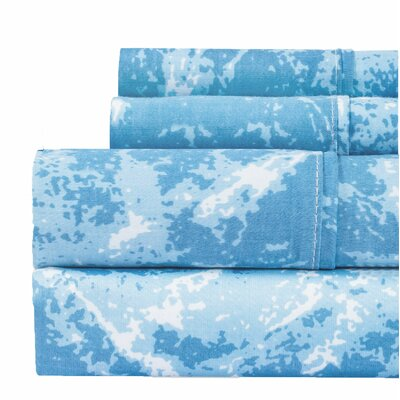 Hanne Marble Print 400 Thread Count 100% Cotton Sheet Set Size: King, Color: Blue