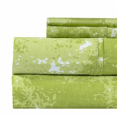 Hanne Marble Print 400 Thread Count 100% Cotton Sheet Set Size: Full, Color: Green