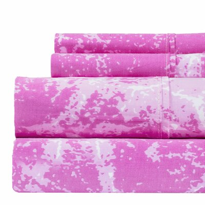 Hanne Marble Print 400 Thread Count 100% Cotton Sheet Set Size: Full, Color: Pink