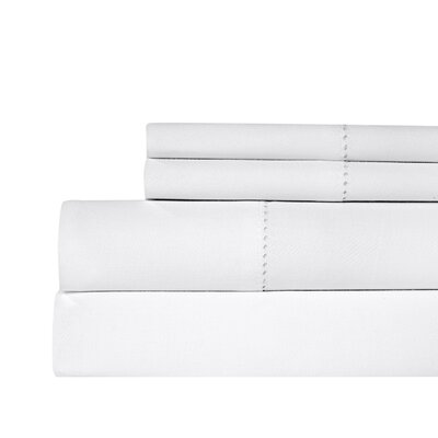 Ignatius Hemstitch 500 Thread Count Cotton Sheet Set Color: White, Size: King