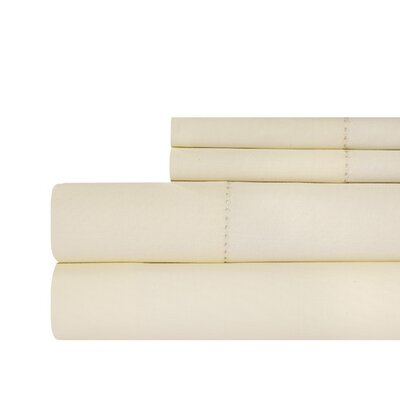 Ignatius Hemstitch 500 Thread Count Cotton Sheet Set Color: Ivory, Size: King