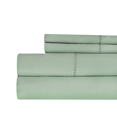 Ignatius Hemstitch 500 Thread Count Cotton Sheet Set Color: Sage, Size: Queen