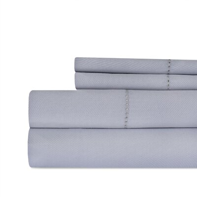 Ratchford Hemstitch 500 Thread Count 100% Cotton Sheet Set Color: Grey, Size: Queen