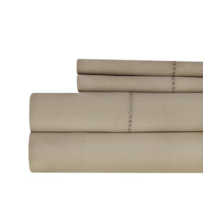 Ignatius Hemstitch 500 Thread Count Cotton Sheet Set Color: Taupe, Size: Full