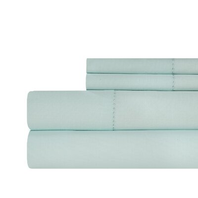 Ignatius Hemstitch 500 Thread Count Cotton Sheet Set Color: Pale Blue, Size: King