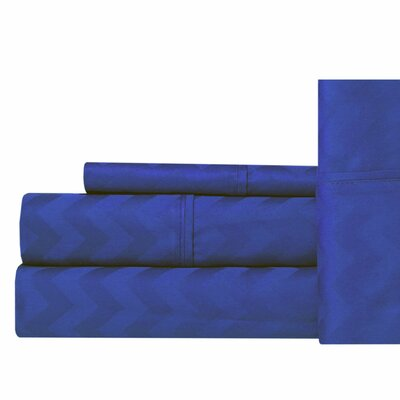 Jaelyn 400 Thread Count 100% Cotton Sheet Set Size: King, Color: Blue