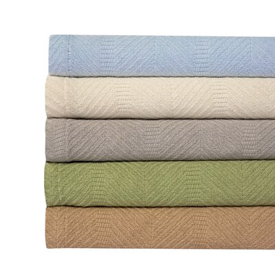 Kail Herringbone Weave 100% Cotton Blanket Color: Ivory, Size: Full/Queen