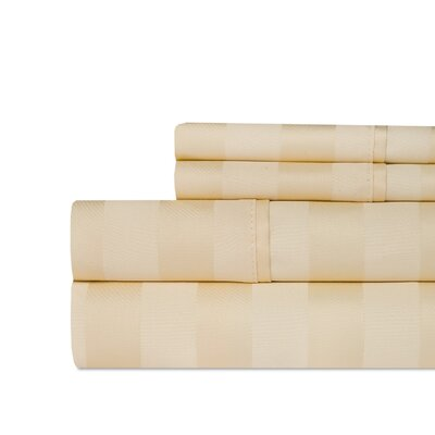 Berwyn 650 Thread Count Cotton 4-Piece Sheet Set Color: Butter, Size: King