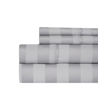 Berwyn 650 Thread Count Cotton 4-Piece Sheet Set Color: Gray, Size: King