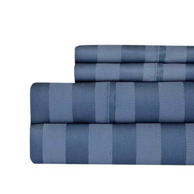 Berwyn 650 Thread Count Cotton 4-Piece Sheet Set Color: Blue, Size: King