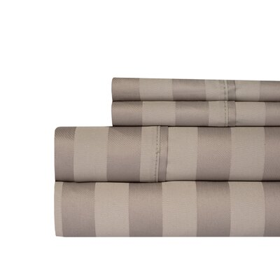 Berwyn 650 Thread Count Cotton 4-Piece Sheet Set Color: Taupe, Size: Queen