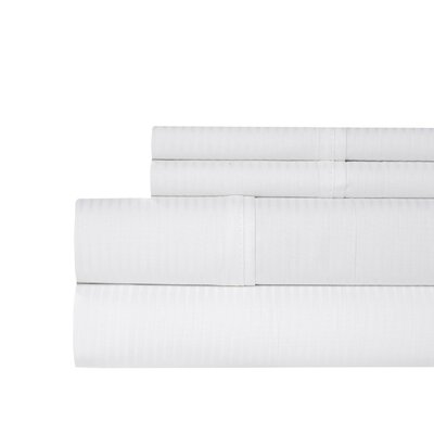 Naida Stripe 400 Thread Count 100% Cotton Sheet Set Size: King, Color: White
