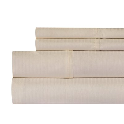 Naida Stripe 400 Thread Count 100% Cotton Sheet Set Color: Ivory, Size: Queen