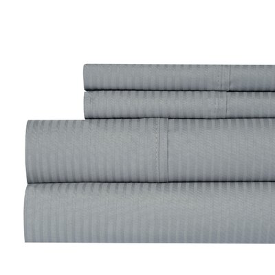 Naida Stripe 400 Thread Count 100% Cotton Sheet Set Size: King, Color: Gray