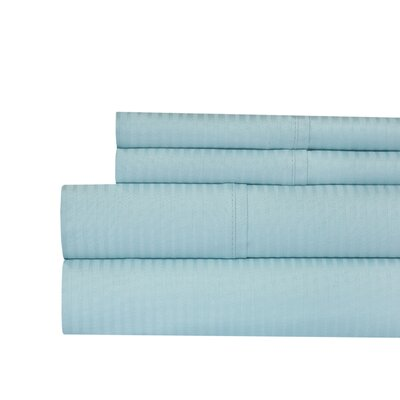 Naida Stripe 400 Thread Count 100% Cotton Sheet Set Size: King, Color: Blue
