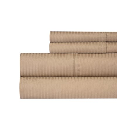 Naida Stripe 400 Thread Count 100% Cotton Sheet Set Color: Taupe, Size: Queen