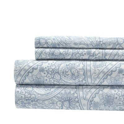 Alexis Paisley Print 300 Thread Count 100% Cotton 4 Piece Sheet Set Color: Blue, Size: Queen