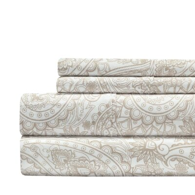 Alexis Paisley Print 300 Thread Count 100% Cotton 4 Piece Sheet Set Size: Full, Color: Taupe
