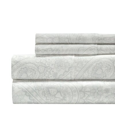 Alexis Paisley Print 300 Thread Count 100% Cotton 4 Piece Sheet Set Size: King, Color: Gray