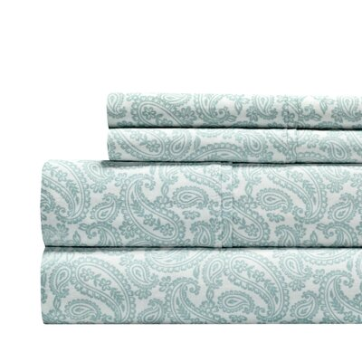 Agueda Paisley Print 300 Thread Count 100% Cotton 4 Piece Sheet Set Color: Blue, Size: Queen