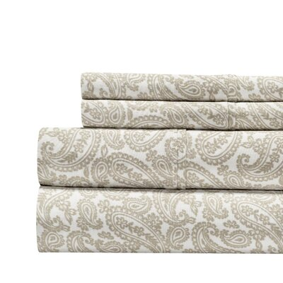 Agueda Paisley Print 300 Thread Count 100% Cotton 4 Piece Sheet Set Size: King, Color: Taupe